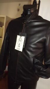 Jack-Leather-Gepolstert-aus-Quaste-Daunenjacke-Gr-48-Abzugshaube-Schwarz
