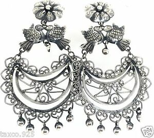 TAXCO-MEXICAN-925-STERLING-SILVER-FRIDA-KAHLO-STYLE-FLORAL-BIRD-EARRINGS-MEXICO