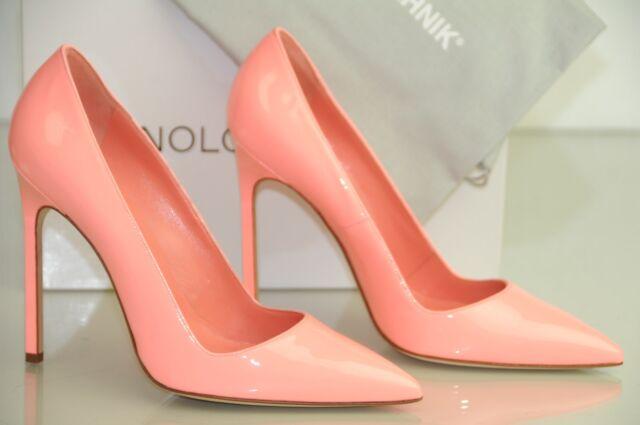 New Manolo Blahnik BB 115 90 Peach Flesh Pink Peach Patent Shoes 39.5 40 38.5 42