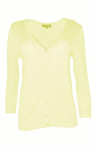 Grey, New Debenhams Collection V Neck Button Up Cardigan Black Yellow 10-24