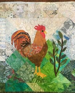 Handcrafted & Finished Mini Quilt -Batik Mini Art Quilt Rooster/textile