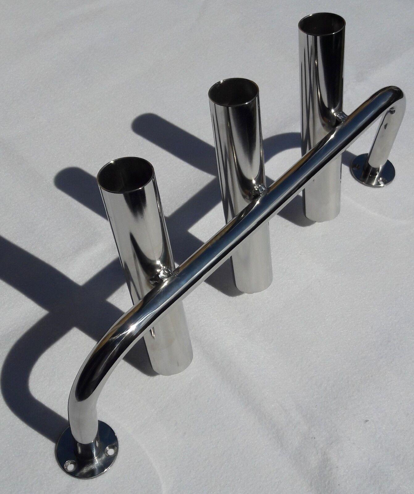 3 TUBE STAINLESS STEEL 316 BOAT FISHING ROD HOLDER  (40mm tube)