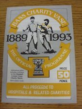 23/07/1993 Bass Charity Vase: Official Programme For The Tournament Featuring No
