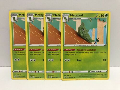 Metapod 002//192 Playset X4 Uncommon Pokemon TCG S/&S Rebel Clash