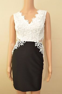 LIPSY BLACK IVORY LACE BODYCON DRESS SIZE 8-16 NEW