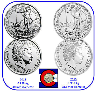 2012 /& 2013 Silver Britannia UK 1 oz £2 Coins in airtites  0.958 /& 0.999 typeset