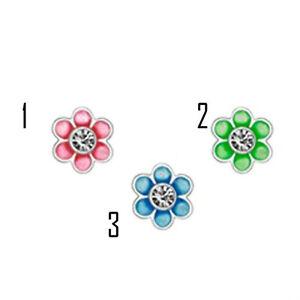 Pair-Flower-Sterling-Silver-Earrings-Enamel-CZ-Stud-H8