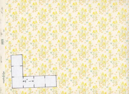 Iris  91D23  yellow dollhouse wallpaper miniature 1pc 1//12 scale