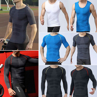 New Men Compression Sports Tight T Shirts Fitness GYM Base Layer Tank Tops Vest