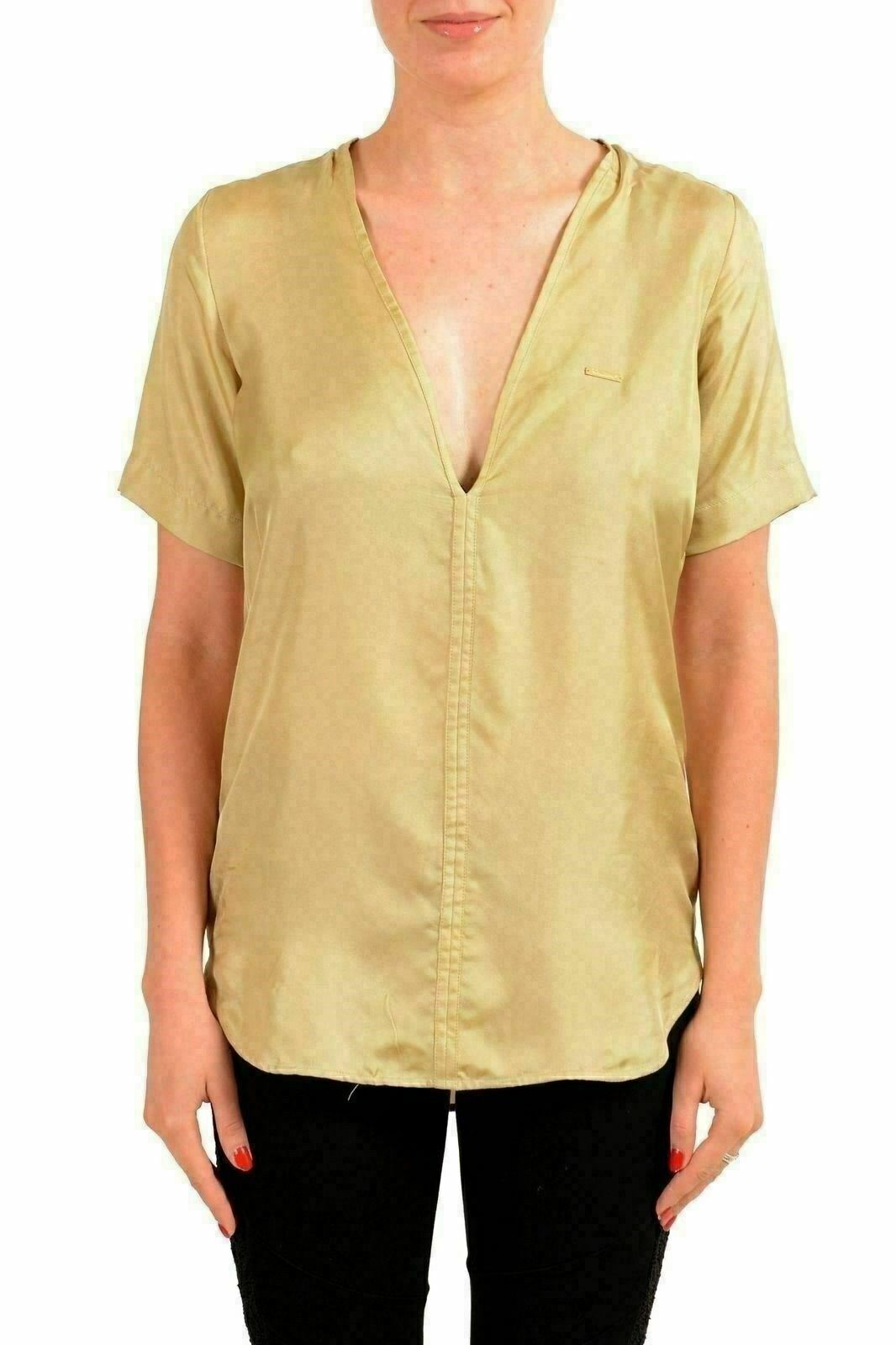 Dsquared2 Women's 100% Silk Beige Short Sleeve Blouse Top US S IT 40