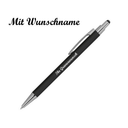 Farbe schwarz gummiert Touchpen Kugelschreiber aus Metall mit Namensgravur