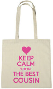 Image Is Loading Keep Calm Best Cousin Bag Gift Ideas Xmas