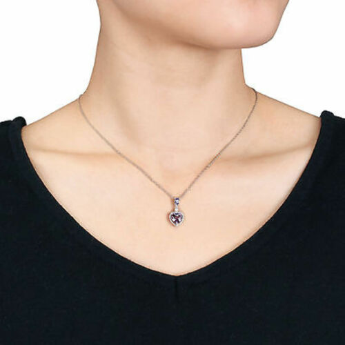 Sterling Silver Diamond And 1 1//4 Ct Tanzanite Amethyst Love Heart Pendant