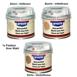 Holzspachtel-Presto-250g-Spachtelmasse-Holz-Reparatur-Spachtel-braun-hell-dunkel
