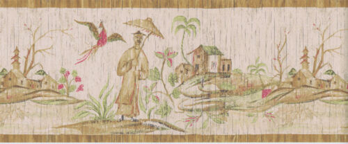 Oriental Asian Scene Wallpaper Border in Browns Greens /& Red  31132620