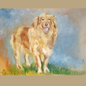 """Excellent oil painting animals The dog cart Male portrait with vegetables 36/"""""""