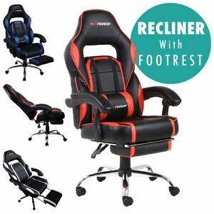 gtforce pace reclining leather sports racing office desk chair rh ebay co uk hbada reclining office desk chair