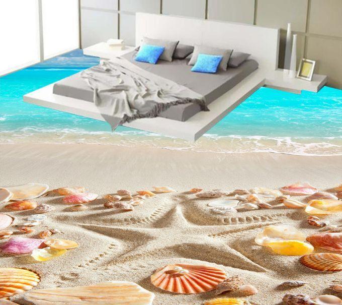 3D Starfish Shell Beach Floor WallPaper Murals Wall Print Decal 5D AJ WALLPAPER