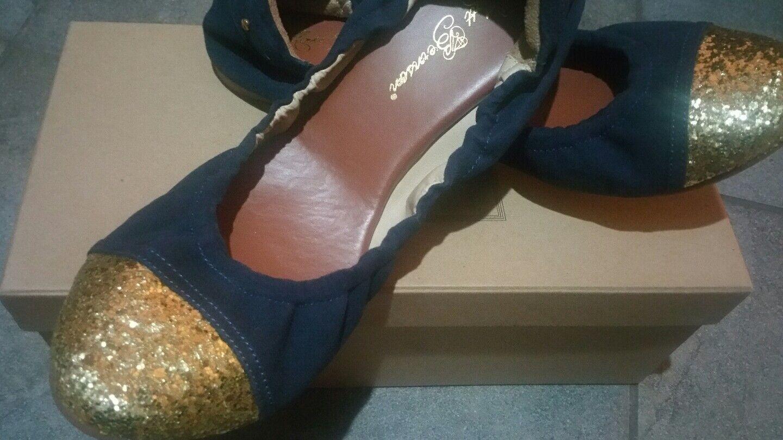 Matt Bernson Waverly Cap Toe Leder navy and gold Ballet Flats sz 9.5