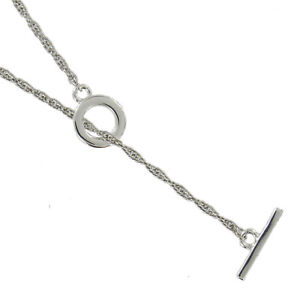"""Toggle Y Necklace Rope Chain Silver Tone Lariat 24"""" USA Made"""