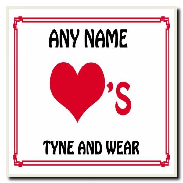 100% Vero Amore Cuore Tyne And Wear Sottobicchieri Personalizzati