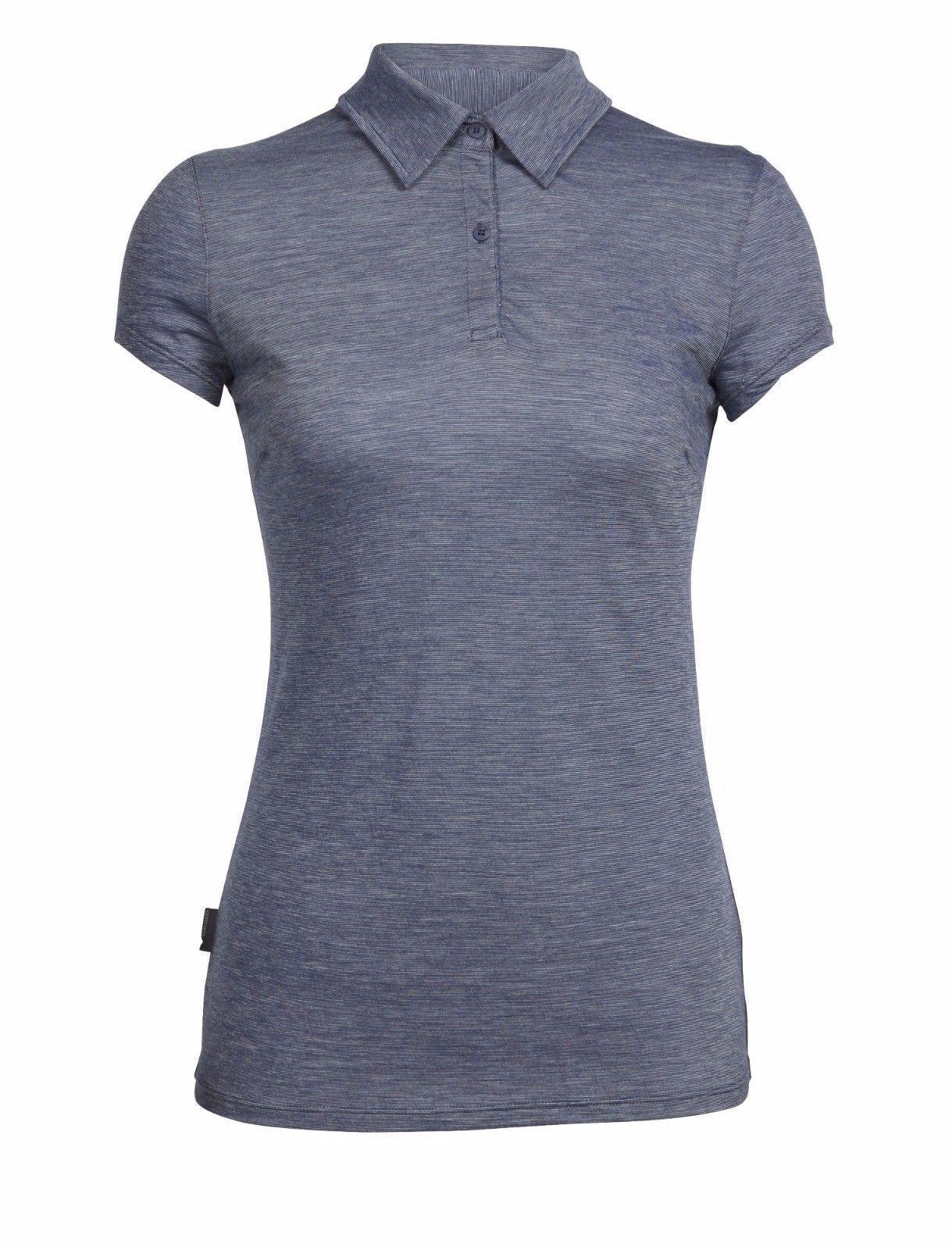 Icebreaker Cool-Lite Sphere Short Sleeve Polo Stripes Damen Damen Damen Shirt Merino Wolle cde8a1