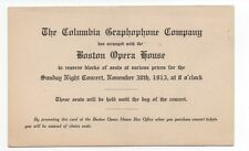 1913 Advertising Card from the Columbia Graphophone Co & Boston Opera House