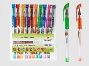 Glitter-Gel Stift 10 Farben mit Duft Gelschreiber Gelmalstifte Gelstifte Glitter
