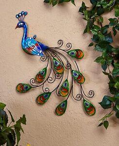 Colorful peacock garden decor 3d wall art glass feather for 3d garden decoration