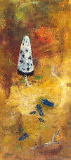 ELLINGER Signed Orig Vint 50s-60s Monotype Acrylic Painting MUSHROOM & FEATHERS
