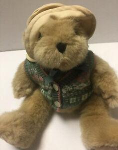 Jointed-Tan-Teddy-Bear-Green-amp-Pink-Sweater-Tan-Hat-10-034-Plush-Stuffed-Animal