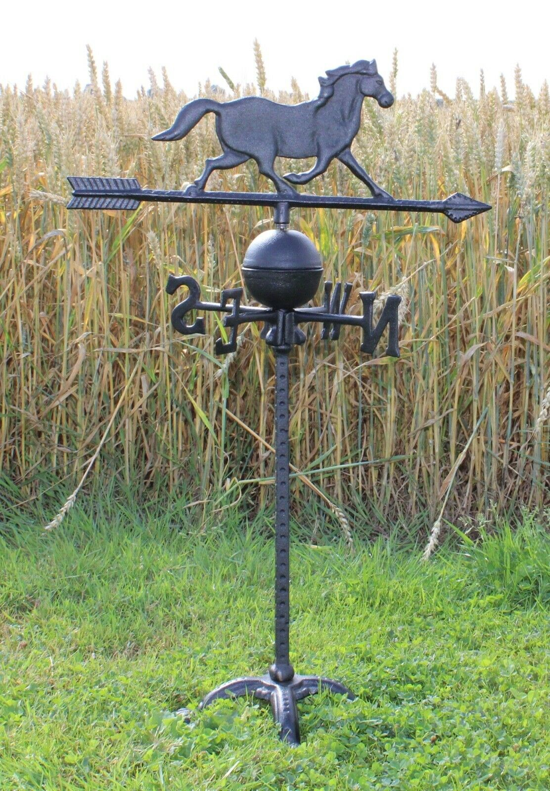 Garden Weather Vane Cast Iron Post Pole Rustic Rooster Horse Decor Freestanding