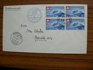 Schweiz 1939, Ballonpost, mit 4er-Block 337 vom 14.III. #P722 - Ochtersum, Deutschland - Schweiz 1939, Ballonpost, mit 4er-Block 337 vom 14.III. #P722 - Ochtersum, Deutschland