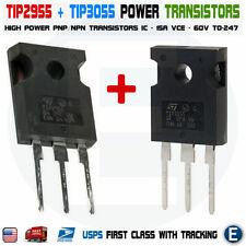 1 Par Tip2955 Tip3055 Power Transistors Pnp Npn 60v 15a To 247 Bipolar Audio