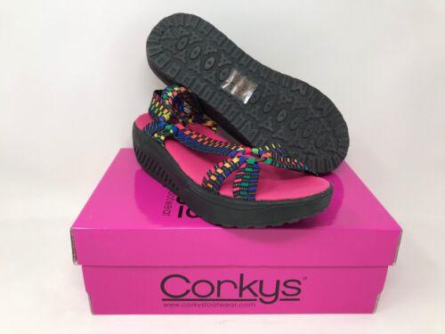 New Women/'s Corky/'s Quickstep Sandal Black//Multi-Color 50-7063 X13-X18