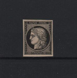 FRANCE-STAMP-YVERT-SCOTT-3-034-CERES-20c-BLACK-ON-YELLOW-1849-034-MNH-VF-T749