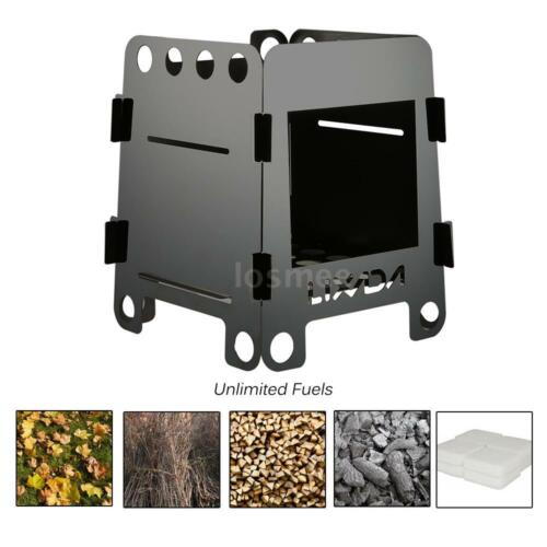 Lixada Portable Stainless Steel Outdoor Camping Cooking Folding Wood Stove K8F3