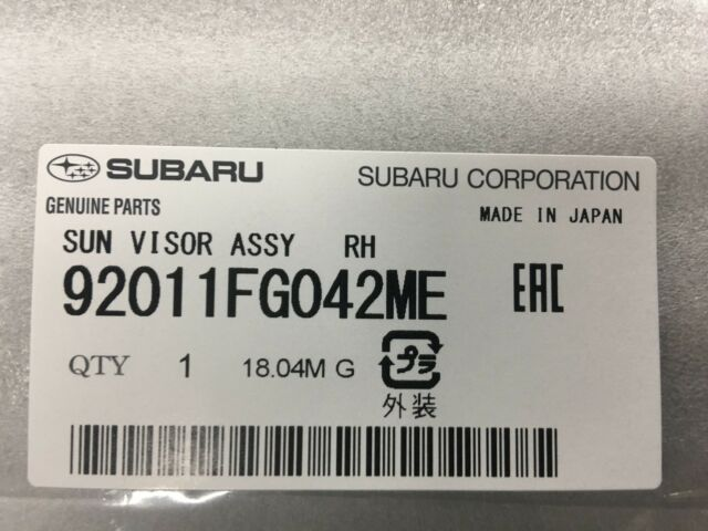 Genuine 08-11 Subaru Impreza 08-14 WRX STi Passenger Sun Visor 92011FG042ME  RH c0a3e44d11d