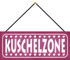 Cuddle Zone Stuffed Zone Shield with Cord Arched Tin Sign 10 X 27 CM K0626-K