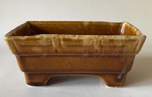 BRUSH MCCOY Planter Brown Mottled Rectangular Vintage USA Pottery