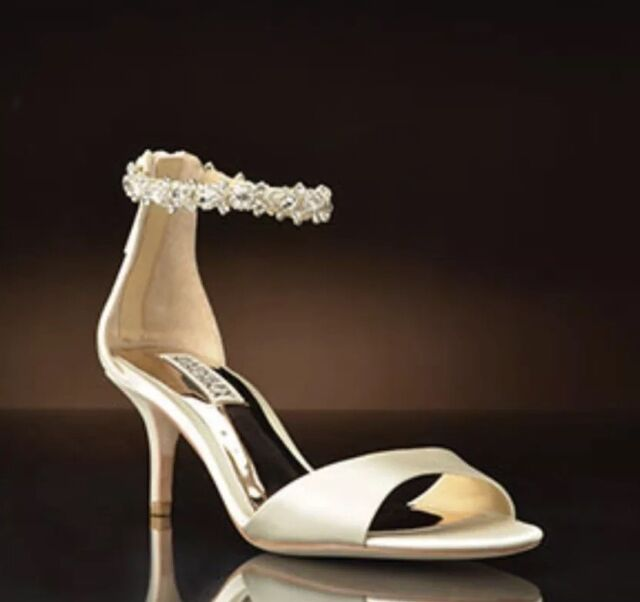 70654e201dd Badgley Mischka Geranium Ivory Satin Ankle Strap Wedding Sandal Size 6  bridal