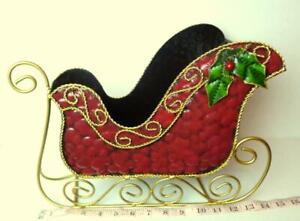Santa-Sleigh-Centerpiece-Red-Metal-Gold-Trim-Planter-Christmas-Decorative-LARGE