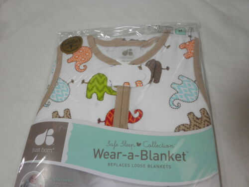 Just Born Cotton Wear-a-Blanket  Elephants ~ 6-12 Months ~ Medium Blue Beige New