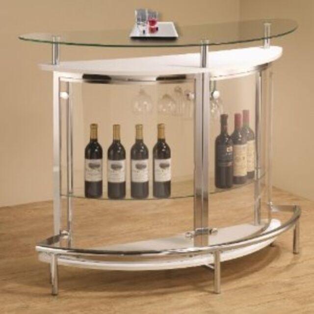 Ebay Bar Furniture: Coaster Furniture White Contemporary Bar Unit With Clear