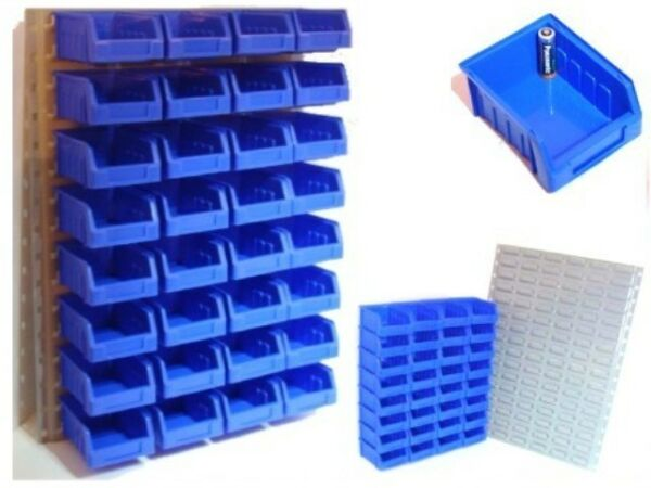 32 Blue Storage / Stacking Bins With Steel Wall Mount Gedistribueerd Worden Over De Hele Wereld