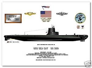 Details about USS Sea Cat SS 399, US Navy Balao Class Submarine Print