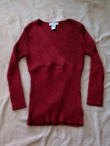 West Size Women's V Red Details About Nine Neck Sweater Sleeve Glitter M Long Y76gbyf