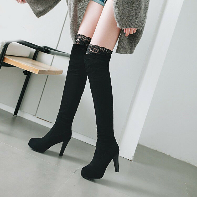 Womens Lace Trim Over Knee Thigh Boots High Heel Pull On Stretchy Long Leg Boots