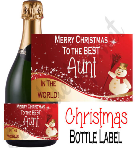 Bottle Label Champagne Style Merry Christmas Uncle Aunt Auntie Sticker