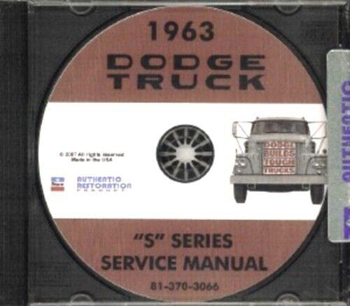 DODGE 1963 Pick Up /& Truck Shop Manual CD 63